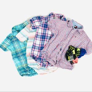 Boys button down short sleeve shirt bundle size m